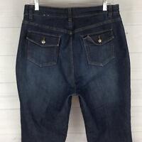 Christopher Banks Elastic Womens Sz 12 Stretch Dark Wash High Flap Bootcut Jeans