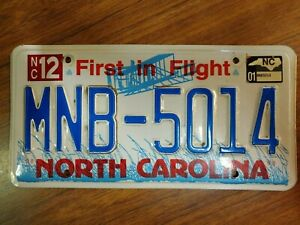 """2001 North Carolina License Plate tag MNB-5014 Red White & Blue """"First in Flight"""