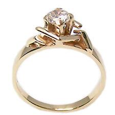 Anello con diamante solitario in oro giallo 18 kt. da donna taglio brillante