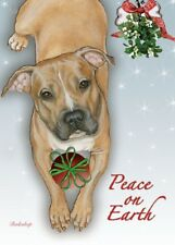 Pit Bull Christmas Cards - Peace on Earth (Fawn) (Pack of 10)