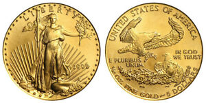 1999 P 1/10th Oz Gold $5 Dollar American Eagle US Bullion Coin Saint- Gaudens