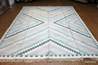 8' X 10' HANDMADE CARPET. HAND WOVEN LIGHT BLUE BEIGE Dhurrie Kilim Rug  #PM75