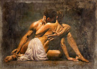 CHOP886 hand painted young lover portrait with kiss oil painting art on canvas