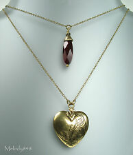 PILGRIM Necklace Gold Ruby Red Crystal Drop HEART Locket + Enamel CHARM BNWT