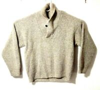 Eddie Bauer Men's Sweater M Brown Wool Shawl Neck Cable Knit Pullover Cardigan