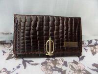 Vintage Valentino Brown leather mock croc vera pelle purse / wallet VGC