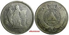 """Honduras Silver 1894/892 1 Peso Mule OVERDATE Counterstamp Inverted """"L""""   KM# 62"""