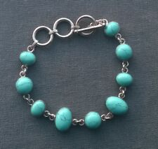 """SOLID 925 STERLING SILVER BLUE TURQUOISE CABOCHONS STONES BRACELET 7"""""""
