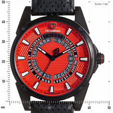 DETOMASO BUSINESS PUNK DT-YG105-C Day&Date Stainless steel Leather Red dial New