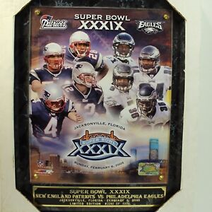 Patriots Eagles Tom Brady Super Bowl XXXIX Plaque  2005 Limited Edition 2292