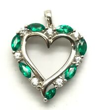 Sterling Silver 925 Marquise Green Tourmaline - CZ Fancy Heart Love Pendant