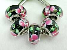 5pc Black w/ Pink & Green Flowers Lampwork Beads For European Big Hole Jewelry