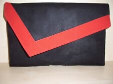 Large black & red faux suede aysemmetrical clutch bag. Handmade in UK