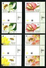 PITCAIRN ISLANDS 2008 FLOWERS & BEES GUTTER PAIRS MNH Sc#670-673