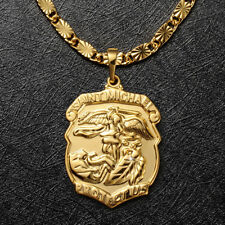 "Mens 24K Real Gold Filled ST SAINT MICHAEL Pendant Necklace Chain Gift 24""x3mm"
