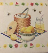 Longaberger Set Of 6 Coasters-Lime Aid, Lemon Aid & Watermelon Aid In The Summ
