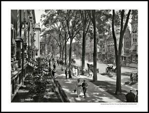 """Broadway at the United States Hotel - Saratoga Springs - 24"""" x 20"""" matted print"""