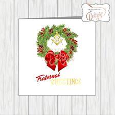 Masonic Christmas Card Masons Compass Symbol Fraternal Greetings Xmas Wreath