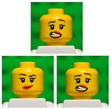 Lego HEADS dual sided # pack of 3 # girl princess woman female lips #1349