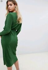 ASOS Green Batwing Polka Dot Spot Midi Dress 8 10 Bnwt
