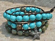 Women's Wrap 3x Bracelet Genuine Leather Turquoise  Charm Chunky bracelet