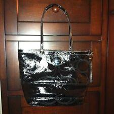 NWT COACH Signature Black Patent Leather Tote