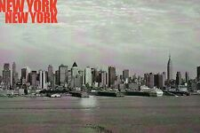 Black & White Skyline of Manhattan & Harbor, New York City, Buildings - Postcard