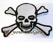 ABS Chrome Skull and Cross Bone Car Badge Pirate