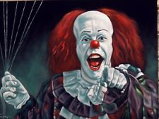 IT Stephen King Pennywise the Dancing clown Oil Painting on Black Velvet J318x