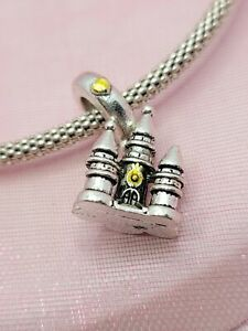 Silver and Gold Castle Charm for European Style Bracelets and Necklaces