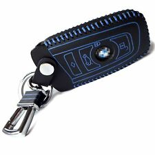 Hot Sports Genuine Leather Smart Key Remote Case Cover Fob Fits BMW (blue)