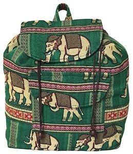 Green Elephant Design Hippie Boho Gypsy Backpack Travel School Uni College Bag