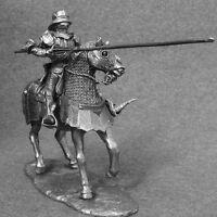 Toy Soldier 1/32 scale Medieval Mounted Knight With Lance Horse Cavalry 54mm