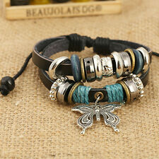 Wood Bead Leather Braided Strand Bracelet Women Bracelets Bangles Charm Bangle v