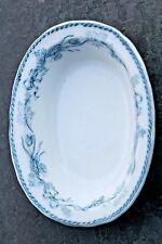 "Furnivals Blue & White Ironstone Transferware 6"" Oval Sauce Side Bowl 1895-1920s"