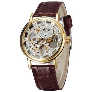 Mechanical Hand-winding Mens Watch Sewor Gents Fashion 40mm Golden Casual  605-1