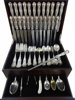 Gothic by Shiebler Sterling Silver Dinner Flatware Set Service 123 Pieces Rare