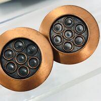 Vintage Modernist Copper Screw Back Earrings Round Disc Mid Century Modern