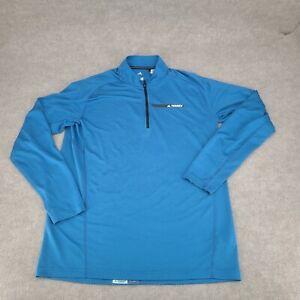Adidas Terrex Shirt Adult Extra Large Blue Black Half Zip Long Sleeve Active Men