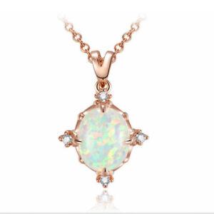 Xmas Creative High Huality Japan White Fire Opal Gems Silver Necklace Pendants