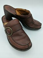 Born Brown Leather Slip On Clogs Mules Comfort Shoes Women's Shoes Size 11/43