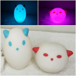 IKEA Spoka LED Color Changing Pink blue M0801 Ghost Cat 2 Night Lights 1 Charger