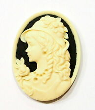 4 of 40x30 mm Cream over Black Beautiful Victorian Woman with Hat Resin Cameos