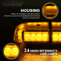 Rooftop Strobe Light Bar 24 LED Flash Emergency Warning Beacon Lamp Amber/Yellow