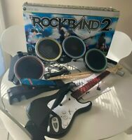 Rock Band 2 Special Edition Bundle Xbox 360 Guitar Drums Mic & Box-No Game