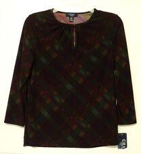 NEW petite medium Chaps knit TOP plaid purple green PM