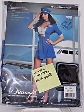 Size Large Women's Blue Stewardess Flying Costume Halloween Party Sexy