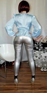 silberne Wetlook glänzende Leggings Gr. L