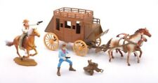 NEWRAY Plastic Western Stagecoach with Cowboy Figures Set Boxed NEW 1/32