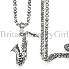 "22"" Stainless Steel Saxophone Pendant Music Lover Chain Necklace for Men Women"